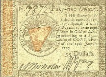 American Colonial $55 bill (repro from Colonial Williamsburg)